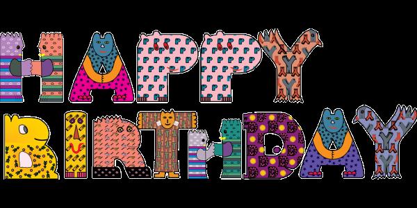 joyeux anniversaire en typographie multicolore texte en anglais